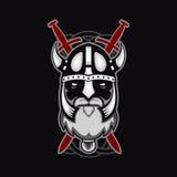 Oud gebaard vector de strijdersembleem van Viking, mascottemalplaatje het hoofd van Viking, profielmening, boos, sportteam geïsol Royalty-vrije Stock Afbeelding