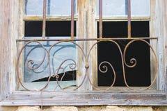 Oud gebroken venster Stock Foto