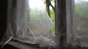 Oud gebroken venster met strepen die van plastiek langzaam in de zomer in slo-mo fladderen stock video