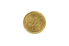 Oud gebruikt en uitgeput 20 centenmuntstuk Stock Fotografie
