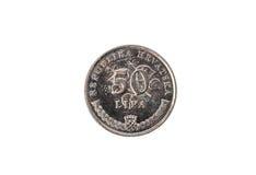 Oud gebruikt en uitgeput 50 lipamuntstuk Royalty-vrije Stock Foto