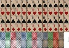 Oud, gebruikt kijk speelkaarten Stock Foto