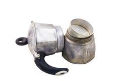 Oud gedemonteerd koffiezetapparaat Stock Afbeeldingen