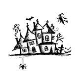 Oud geheimzinnigheid huis, Halloween nacht Stock Afbeeldingen