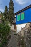 Oud gekleurd huis in het dorp van Theologos, Thassos-eiland, Griekenland Stock Afbeelding