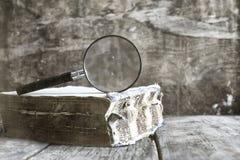 Oud gekrast effect fotovergrootglas en oud boek stock afbeelding