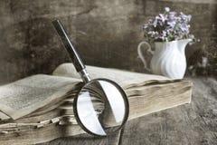 Oud gekrast effect fotovergrootglas en oud boek stock fotografie