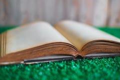 Oud geopend boek op het kunstmatige gras royalty-vrije stock fotografie