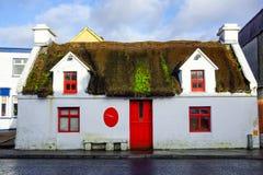 Oud geruïneerd en verlaten met stro bedekt huis met rode vensters en deur stock foto