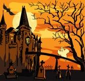 Oud geruïneerd geïsoleerd kasteel met spook bij nacht Stock Fotografie
