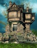 Oud geruïneerd huis Stock Foto's
