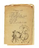 Oud geïsoleerd receptenboek Royalty-vrije Stock Foto's