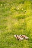 Oud & x27; Geta& x27; Traditionele Japanner & x27; Geta& x27; pantoffels Paar van oud Japan stock afbeeldingen