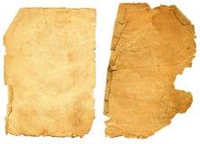 Oud geweven document met vervallen rand. Stock Fotografie