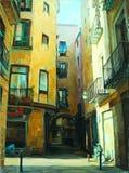 Oud gotisch kwart van Barcelona, het schilderen Royalty-vrije Stock Afbeeldingen