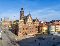 Oud Gotisch stadhuis in Wroclaw Breslau in Polen stock foto
