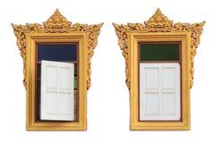 Oud Gouden gravure houten venster Royalty-vrije Stock Afbeeldingen