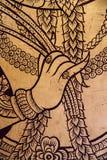 Oud gouden gravure houten venster van Thaise tempel. Royalty-vrije Stock Afbeelding