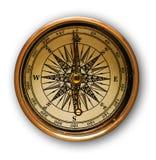 Oud gouden kompas Stock Afbeelding