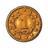 Oud gouden muntstuk stock illustratie