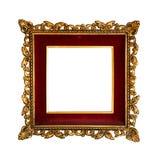 Oud gouden retro frame, dat op wit wordt geïsoleerd0 Stock Foto's