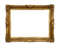 Oud gouden retro spiegelframe, dat op wit wordt geïsoleerdi stock foto