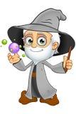 Oud Grey Wizard - met Crystal Balls Royalty-vrije Stock Foto