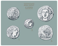 Oud Griekenland, antieke symbolen verzilvert muntstukken tetradrachme, medailles met hercules, heracles en Athena met uil, demetr vector illustratie