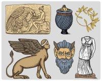 Oud Griekenland, de antieke symbolen Ganymede en adelaarsanphora, de vaas, Athena-het standbeeld en de wijnoogst van het satermas stock illustratie