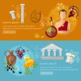 Oud Griekenland en Oude de bannerstraditie en cultuur van Rome vector illustratie