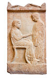 Oud Grieks graf stele van Piraeus (420 V.CHR.) Stock Afbeeldingen