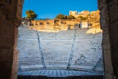 Oud Grieks theater Odeon van Herodes Atticus in Athene Griekenland stock foto