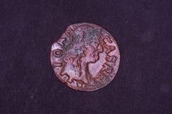 Oud Groot Hertogdom van het muntstukshilling van Litouwen op de zwarte achtergrond stock afbeelding