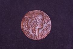 Oud Groot Hertogdom van het muntstukshilling van Litouwen op de zwarte achtergrond stock fotografie