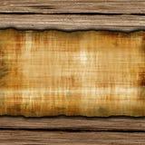 Oud grungedocument op de houten achtergrond vector illustratie