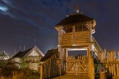 Oud handel faktory dorp in Pruszcz Gdanski, Polen stock afbeeldingen