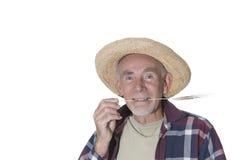 Oud hayseed met gras in zijn mond Royalty-vrije Stock Foto