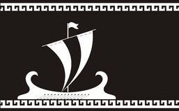 Oud het schipsilhouet van Griekenland stock illustratie