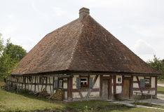 Oud hout frame huis Stock Foto