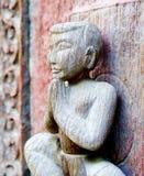 Oud houten beeldhouwwerk Stock Foto's