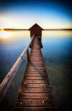 Oud houten botenhuis Stock Afbeeldingen