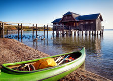 Oud houten botenhuis Royalty-vrije Stock Foto