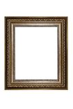 Oud houten die fotokader op wit wordt geïsoleerd stock foto's