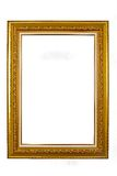 Oud houten die fotokader op witte achtergrond wordt geïsoleerd stock fotografie