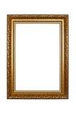 Oud houten die fotokader op witte achtergrond wordt geïsoleerd stock afbeelding
