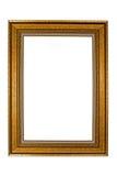 Oud houten die fotokader op witte achtergrond wordt geïsoleerd Stock Foto