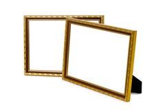 Oud houten die fotokader op witte achtergrond wordt geïsoleerd stock afbeeldingen