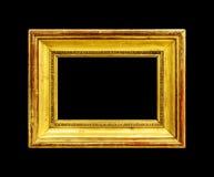 Oud houten die kader op zwarte wordt geïsoleerd Royalty-vrije Stock Foto