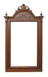 Oud houten frame met gravures stock afbeelding