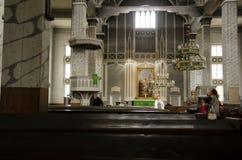 Oud houten kerkbinnenland Royalty-vrije Stock Foto